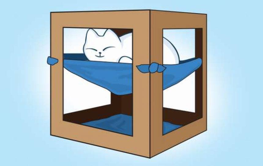Домик для кошки с гамаком: 30 мин и готово!